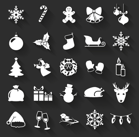 Christmas and New Year flat icons isolated on a dark background. Set of 25 white symbols with long shadows. Collection of silhouette elements for your design. Vector illustration. Vector Illustration