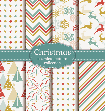 Merry Christmas and Happy New Year! Set of retro seamless backgrounds with traditional symbols: reindeer, fir-tree, snowflakes, firework and suitable abstract geometric patterns. Vector collection.