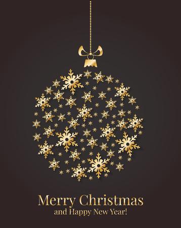 Biglietto di auguri con palla di Natale da fiocchi di neve oro. Illustrazione vettoriale.