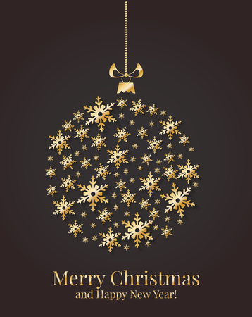 hang: Greeting card with Christmas ball made from gold snowflakes. Vector illustration.