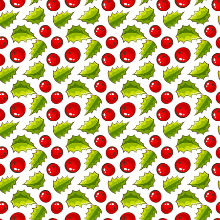 holly day: Merry Christmas! Seamless pattern with holly berries and leaves. Holiday background. Vector illustration. Illustration