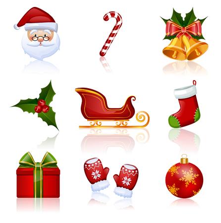 papa noel en trineo: Conjunto de Navidad y A�o Nuevo iconos. Colecci�n de elementos de dise�o. Ilustraci�n del vector.