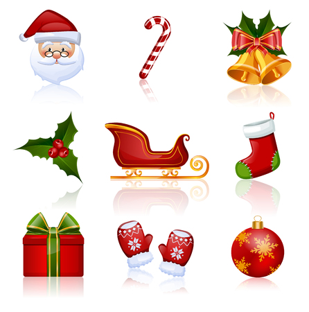 santa claus hats: Set of Christmas and New Year icons. Collection of design elements. Vector illustration. Illustration
