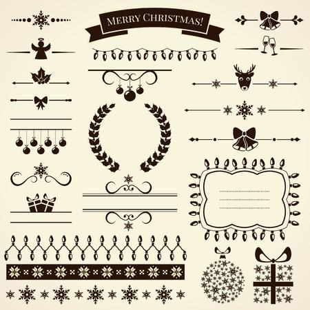 navidad elegante: Colección de varios elementos de la Navidad para el diseño y decoración de la página. Ilustración del vector.