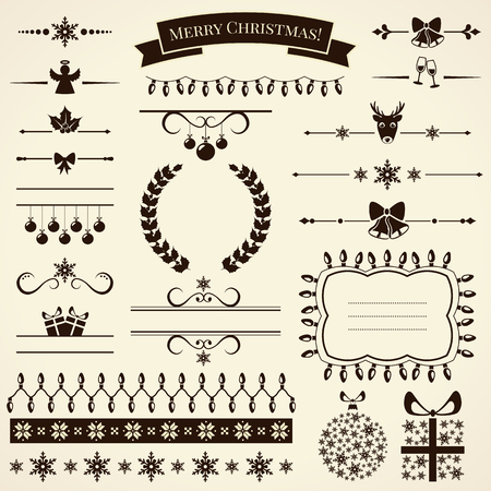 elegant christmas: Collection of various christmas elements for design and page decoration. Vector illustration.