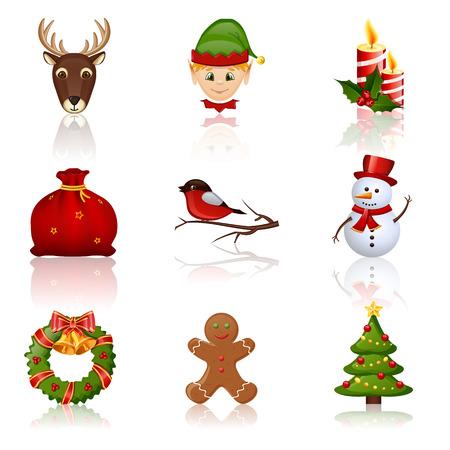 色のクリスマスと新年のアイコン。デザイン要素のコレクションです。2 を設定します。ベクトルの図。  イラスト・ベクター素材