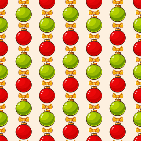 green cute: Christmas and New Year seamless pattern. Cute vector background with red and green christmas balls and bows. Illustration