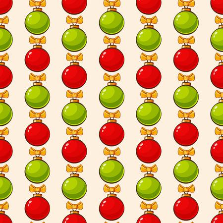 moños de navidad: Patrón transparente de Navidad y Año Nuevo. vector de fondo linda con las bolas y lazos de Navidad rojo y verde. Vectores