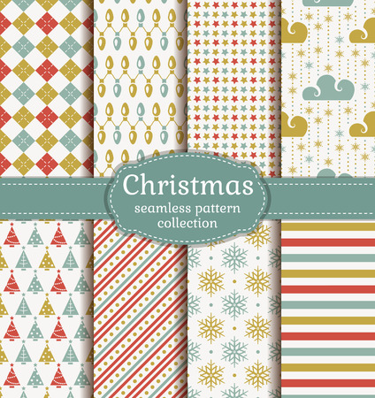 Merry Christmas and Happy New Year! Set of seamless retro backgrounds with traditional symbols: christmas tree, garland, snowflakes and suitable abstract geometric patterns. Vector collection. Illustration