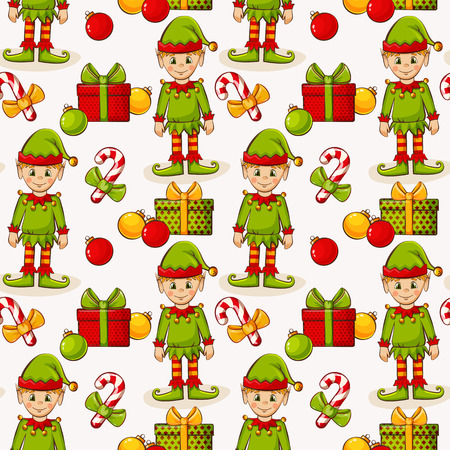 christmas gift: Merry Christmas and Happy New Year! Seamless pattern with elves and gifts on white background. Vector illustration. Illustration