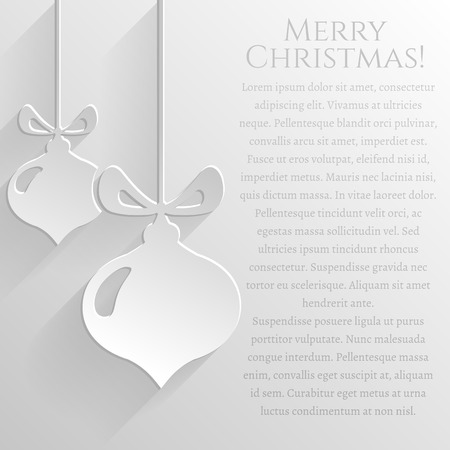 white greeting: Merry Christmas! White greeting card with flat christmas balls and space for your text. Festive background. Vector illustration.