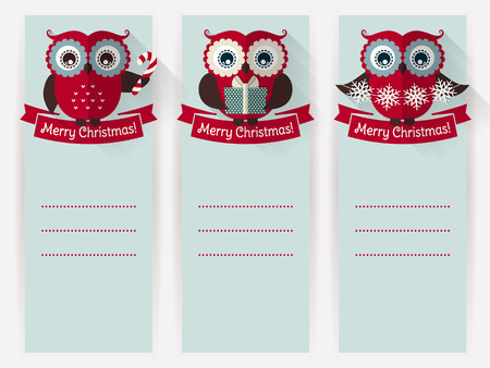 empty space for text: Merry Christmas! Set of greeting banners with cute owls and space for text. Vector illustration.