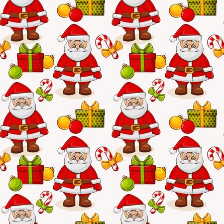 メリー クリスマスと新年あけましておめでとうございます!サンタとギフトの白い背景の上でのシームレスなパターン。ベクトルの図。