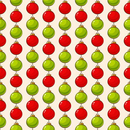 クリスマスと新年のシームレスなパターン。赤と緑のクリスマスのボールとベクトルの背景。