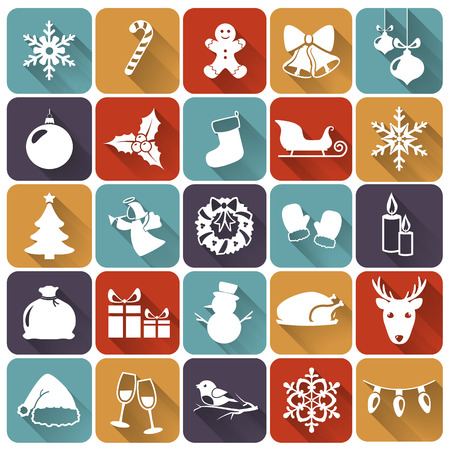 Set of christmas and new year flat icons with long shadows. Vector illustration.