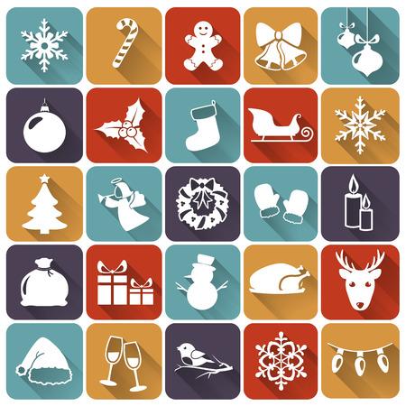 natale: Set di Natale e nuove icone piane anno con lunghe ombre. Illustrazione vettoriale. Vettoriali