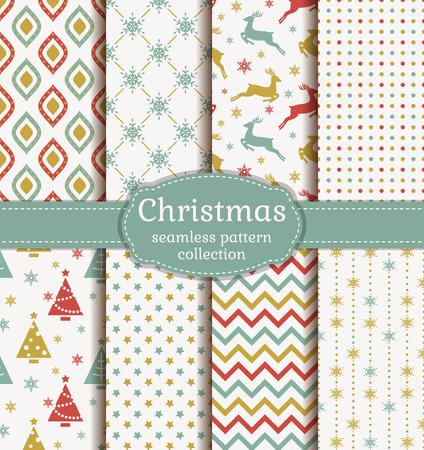 メリー クリスマスと新年あけましておめでとうございます!伝統的なシンボルとレトロなシームレス背景セット: トナカイ、モミの木、雪の結晶、星と適切な抽象的な幾何学模様。ベクター コレクション。 写真素材 - 47450027
