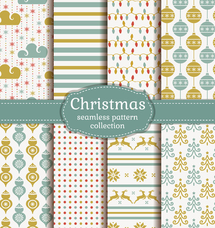 Merry Christmas and Happy New Year! Set of seamless retro backgrounds with traditional symbols: deer, christmas tree, tree ball, snowflakes and other holiday or abstract patterns. Vector collection. Ilustração