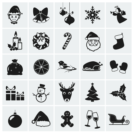 papa noel: Colección de 25 iconos de la Navidad. Ilustración del vector.