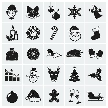 Sbírka 25 vánočních ikon. Vektorové ilustrace. Ilustrace