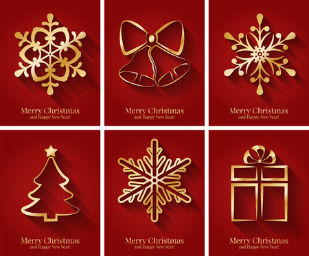 red gold: Greeting cards with golden Christmas symbols.