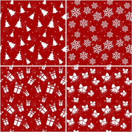 クリスマスと新年のシンボルと赤のシームレス パターンのセットです。ベクトルの図。