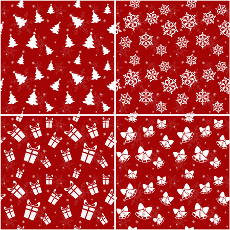Set of red seamless patterns with Christmas and New Year symbols. Vector illustration.
