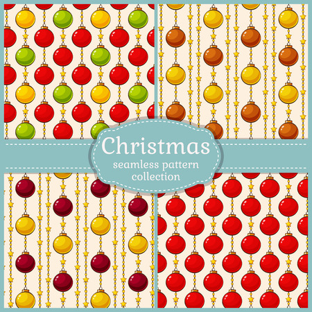 christmas backgrounds: Christmas and New Year seamless patterns set. Vector backgrounds with colorful christmas balls.