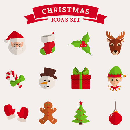 Christmas and New Year icons isolated on a white background. Set of colored flat symbols. Vector collection.