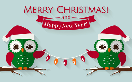 Merry Christmas and Happy New Year! Greeting card with cute owls in Santa hats. Vector illustration.  イラスト・ベクター素材