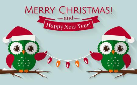 joyeux noel: Joyeux Noel et bonne année! Carte de voeux avec hiboux mignons à Santa chapeaux. Vector illustration.