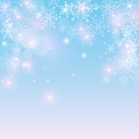blue snowflakes: Winter background with snowflakes and space for text. Festive card for Christmas or New Year design. Vector illustration.