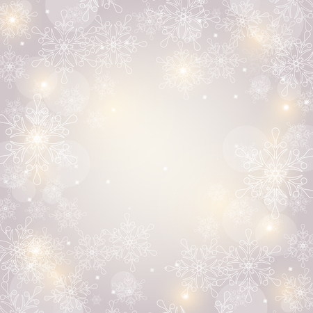 shiny: Merry Christmas! Winter background with snowflakes and space for text. Festive card. Vector illustration.