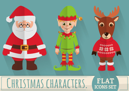 Christmas characters: Santa Claus, elf and reindeer. Flat elements with long shadow. Collection of colored icons for holiday design. Vector set. Illustration