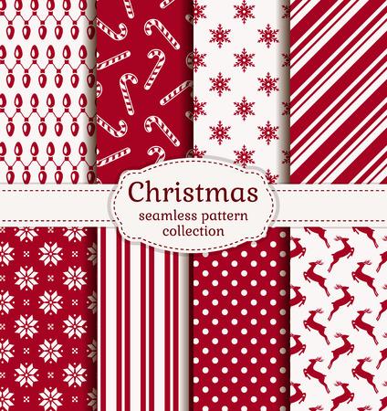 sueter: ¡Feliz navidad y próspero año nuevo! Conjunto de fondos de vacaciones de invierno. Colección de patrones sin fisuras con los colores rojo y blanco. Ilustración del vector.