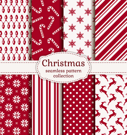 cane: Merry Christmas and Happy New Year! Set of winter holiday backgrounds. Collection of seamless patterns with red and white colors. Vector illustration.