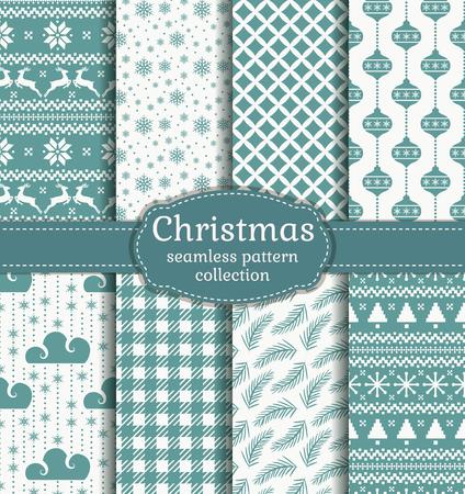 メリー クリスマスと新年あけましておめでとうございます!伝統的なシンボルとシームレスなレトロな背景のセット: トナカイ、クリスマス ツリー、