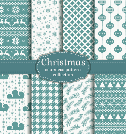 Merry Christmas and Happy New Year! Set of seamless retro backgrounds with traditional symbols: reindeer, christmas tree, christmas balls, snowflakes and suitable abstract patterns. Vector collection. Illustration