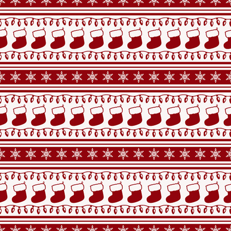 holiday garland: Merry Christmas and Happy New Year! Striped background with socks, garlands and snowflakes. Seamless pattern. Vector illustration.
