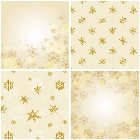 christmas backgrounds: Set of 4 christmas backgrounds with snowflakes. Vector illustration. Two backgrounds are seamless patterns, and the other two backgrounds have a space for text.
