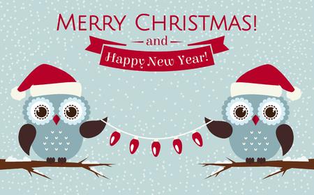 buhos: �Feliz navidad y pr�spero a�o nuevo! Tarjeta de felicitaci�n con los buhos lindos en los sombreros de Santa. Ilustraci�n del vector.