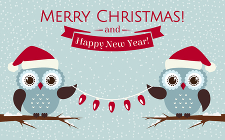 Merry Christmas and Happy New Year! Greeting card with cute owls in Santa hats. Vector illustration. Çizim