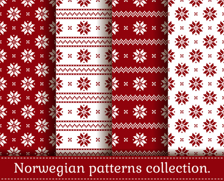 Seamless backgrounds in traditional Norwegian style. Set of Christmas and winter patterns in red and white colors. Vector illustration.