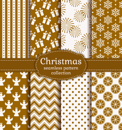 retro pattern: Merry Christmas and Happy New Year! Set of holiday backgrounds. Collection of seamless patterns with gold and white colors. Vector illustration. Illustration