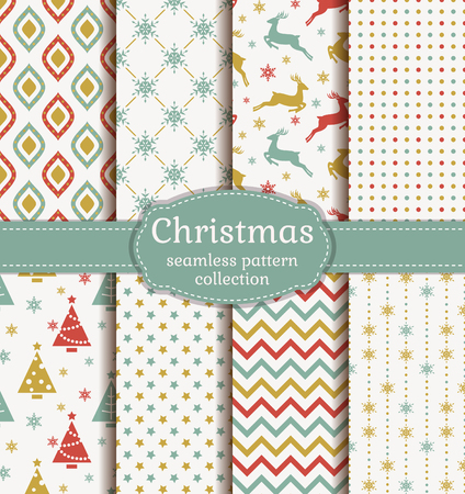 Merry Christmas and Happy New Year! Set of retro seamless backgrounds with traditional symbols: reindeer, fir-tree, snowflakes, stars and with suitable abstract geometric patterns. Vector collection.