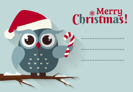 christmas owl: Merry Christmas! Greeting card with place for text. Flat owl with candy cane and santa hat. Vector illustration.