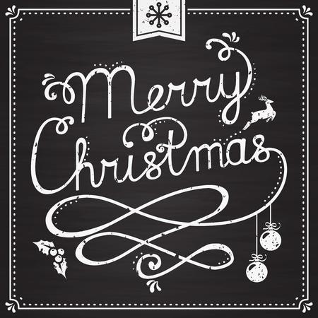 cintas navide�as: �Feliz Navidad! Tarjeta de felicitaci�n con las letras escritas a mano en la pizarra. Fondo de moda con la tipograf�a y de la Navidad s�mbolos: ciervos, bolas de navidad, acebo, copo de nieve. Ilustraci�n del vector. Vectores