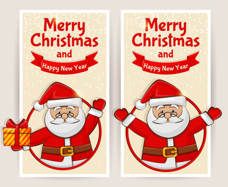 red christmas background: Merry Christmas and Happy New Year! Set of greeting banners with Santa Claus. Vector illustration. Illustration