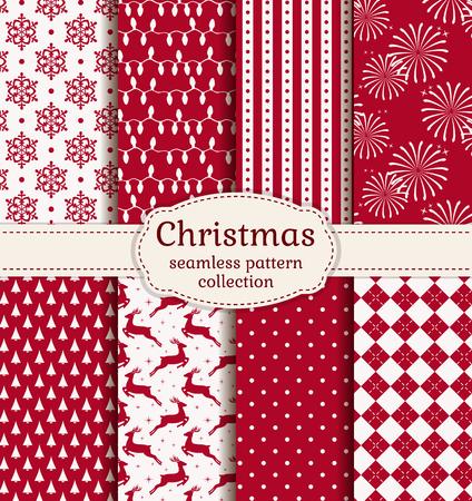 renos de navidad: ¡Feliz navidad y próspero año nuevo! Conjunto de fondos de vacaciones. Colección de patrones sin fisuras con los colores rojo y blanco. Ilustración del vector. Vectores