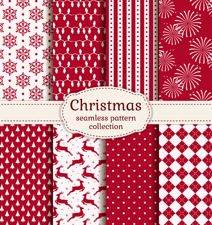 Merry Christmas and Happy New Year! Set of  holiday backgrounds. Collection of seamless patterns with red and white colors. Vector illustration. Illusztráció